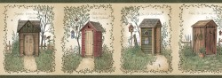 Fisher Sage Country Outhouses Wallpaper Border