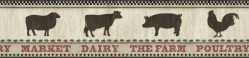 Grace Black Farmers Market Wallpaper Border