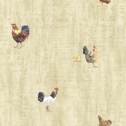 Lisle Wheat Roosters & Script Wallpaper