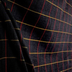 D2524 Frazier Charcoal Black Red Beige Plaid Fabric