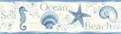 Island Bay Blue Seashells Wallpaper Border