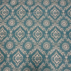 REMNANT Emblem Aqua Floral Medallion Ikat Damask Fabric - 55 inches x 5.75 yards