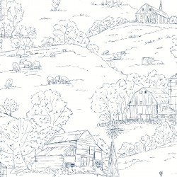 FH4032 Navy/White Pasture Toile Wallpaper