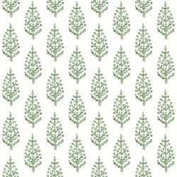 FH4067 Green Paisley On Calico Wallpaper