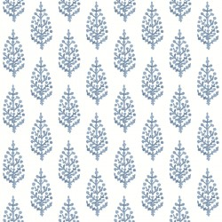 FH4068 Blue Paisley On Calico Wallpaper
