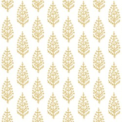 FH4071 Yellow Paisley On Calico Wallpaper