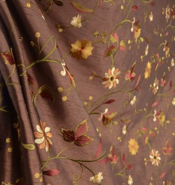 Garden Embroidery Chocolate Faux Silk Floral Drapery Fabric