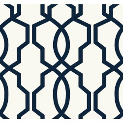 GE3664 Navy Blue on White Geometric Hourglass Trellis Wallpaper