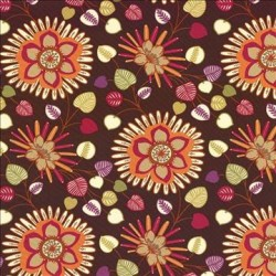 Groovy Floral Chocolate Kasmir Fabric