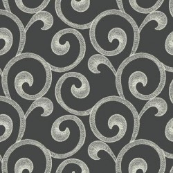 GS6241 Hampton Scroll Dark Grey Black Wallpaper