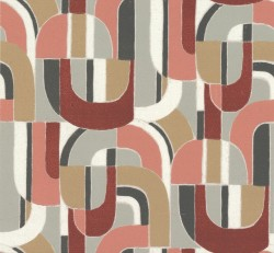 HC7600 Red/Coral/Black Sculpture Garden Wallpaper