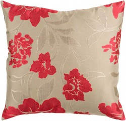 Wild Flowers Tan, Red Pillow