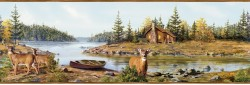 Cabin Creek Blue Portrait Wallpaper Border