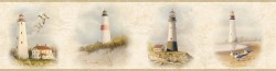 Seaman Off-White Lighthouse Coast Portrait Wallpaper Border