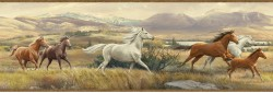 Swift Sand Open Range Horses Portrait Wallpaper Border