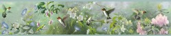 Ruby Green Hummingbird Garden Wallpaper Border (HTM48531B)