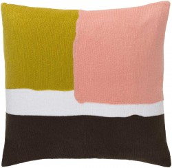 Harvey Pillow with Poly Fill in Gold, Pastel Pink, and Chocolate   HV001-1818P