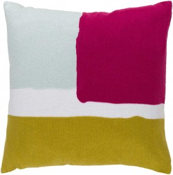 Harvey Pillow with Poly Fill in Light Gray, Gold, and Hot Pink   HV005-2020P
