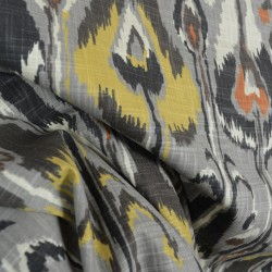 Ikat Bands Greystone Contemporary Drapery Fabric