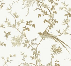KT2174 White/Gold Bird And Blossom Chinoserie Wallpaper