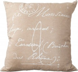 Classical French Script Tan, Grey Pillow | LG511-1818P
