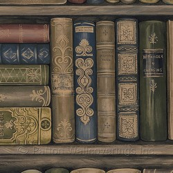 LL29570 Antique Jewel Tone Library Book Shelf Wallpaper