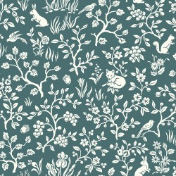 ME1574 Teal Green Fox & Hare Weekends Toile Joanna Gaines Magnolia Home Wallpaper