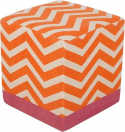 Millie Orange Cube Pouf