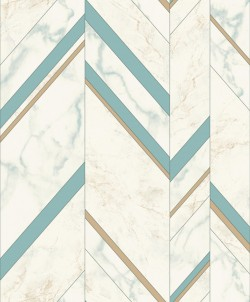 MM1802 Marble Chevron Turquoise/Gold Wallpaper