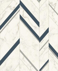 MM1804 Marble Chevron Navy/Silver Wallpaper
