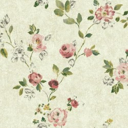 NP6325 Pink Watercolor Rose Floral Sketch Wallpaper