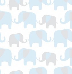 NU1404 Blue Elephant Parade Peel and Stick Wallpaper