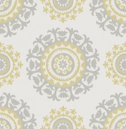NU1652 Grey and Yellow Suzani Peel and Stick Wallpaper