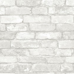 NU1653 Grey and White Brick Peel and Stick Wallpaper