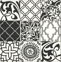 NW30300 Black and White Graphic Tile NextWall Peel & Stick Wallpaper