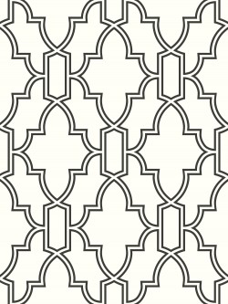 NW31600 Black and White Tile Trellis NextWall Peel & Stick Wallpaper
