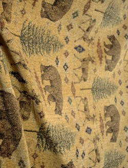 Ottawa Gold Lodge Bear Deer Pine Tree Chenille Upholstery Fabric