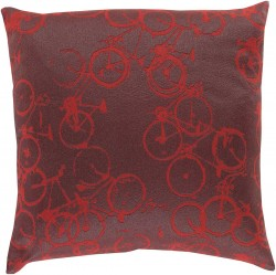 Bold Bicycles Brown, Red Pillow | PDP006-1319P
