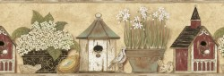 PUR44563B Home Sweet Home Border Country Birdhouse Floral Wallpaper Border