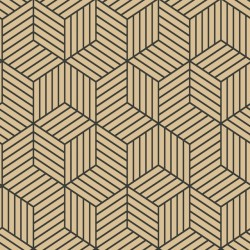 RMK10707WP Stripped Hexagon Gold/Black Peel & Stick Wallpaper