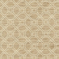 RMK11191WP Beige Coastal Trellis Faux Grasscloth Peel & Stick Wallpaper