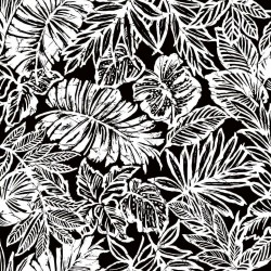 RMK11201RL Tropical Leaf Black Peel & Stick Wallpaper