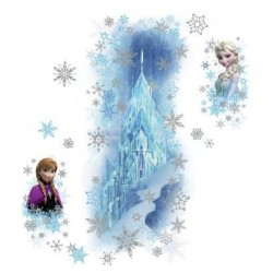 Murals Frozen Ice Palace with Elsa and Anna Giant Wall Decal with Glitter Mural
