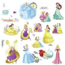 Murals Sparkling Disney Princess Friendship Adventures Wall Decals w/ Glitter