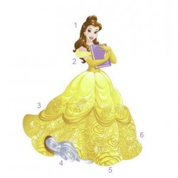 Murals Sparkling Disney Belle Giant Wall Decal w/Glitter Mural