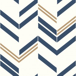 RMK9002WP Chevron Blue Stripe Peel & Stick Wallpaper