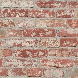 RMK9036RL Stuccoed Dark Red Brick Peel and Stick Decor