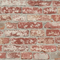 RMK9036WP Stuccoed Dark Red Brick Peel and Stick Wallpaper