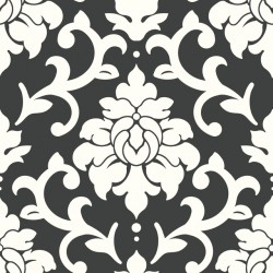 RMK9114WP Damask Black Peel & Stick Wallpaper