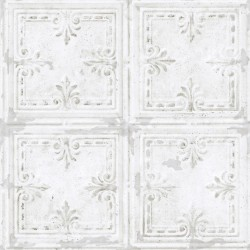 RMK11209WP Tin Tile White Peel and Stick Wallpaper
